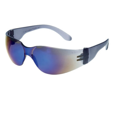 Blue Mirror Lens With Black Frame Safety Glasses