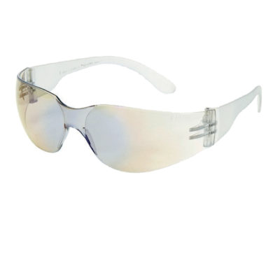 Blue Mirror on Clear Lens With Clear Frame Safety Glasses