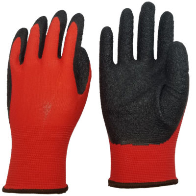Polyester Glove With Crinkle Grip Latex Palm Coated & Fingers