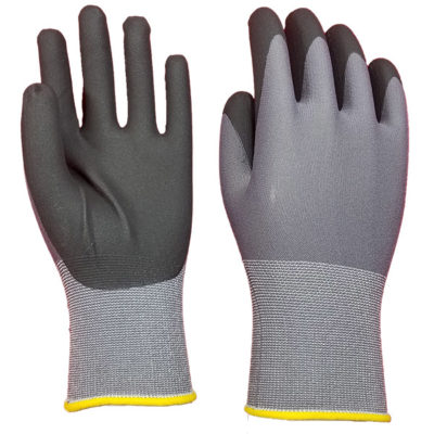 Extreme Dexterity Nylon Seamless Knit Shell Foam Nitrile Palm Coated Gloves