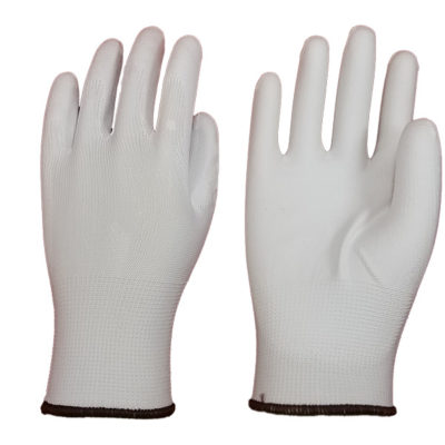 Lightweight White Seamless Polyester shell with White Polyurethane Palm Coated Gloves